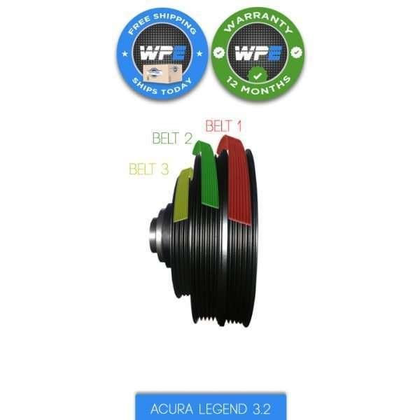 acura legend tl 3.2 pulley harmonic balancer 91 92 93 94 95 crankshaft pulley 13811PY3000 13810PY3003 3 serpentine belts legend