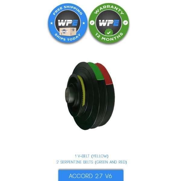 honda accord 2.7 v6 pulley harmonic balancer 95 96 97 crankshaft pulley 13810P0GA01 3 belts serpentine and V